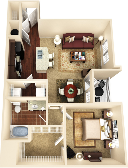 811 sq. ft. A3 floor plan