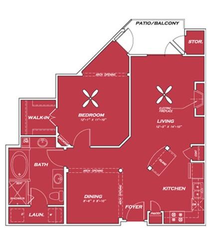 892 sq. ft. A4 floor plan