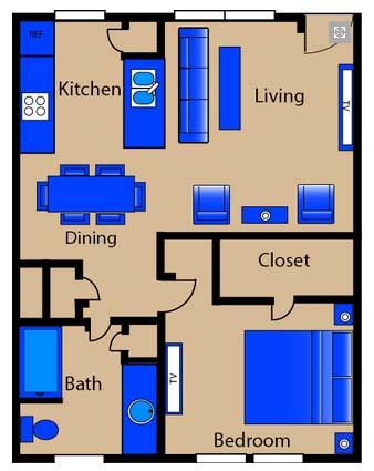 675 sq. ft. M1 floor plan