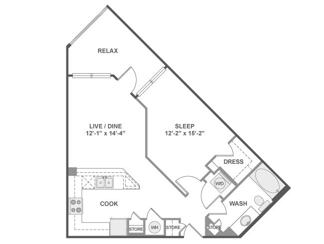 715 sq. ft. A3 floor plan