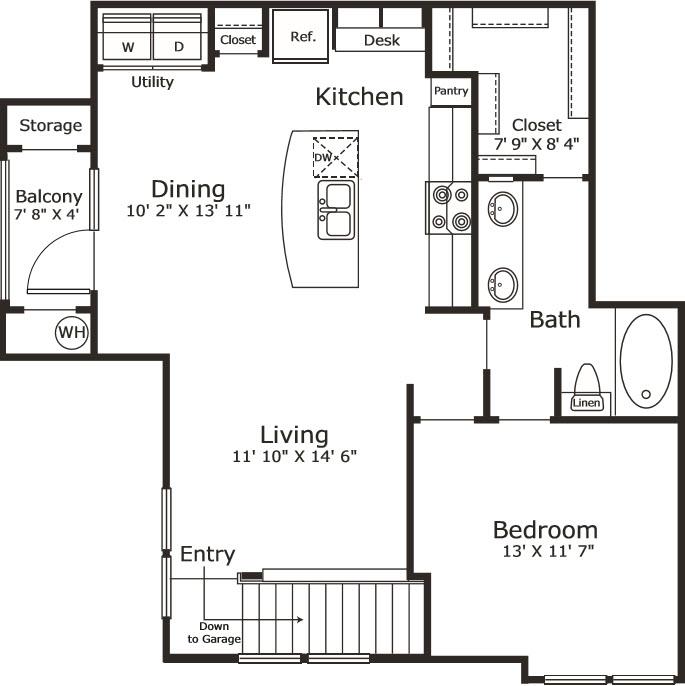 876 sq. ft. A7G floor plan