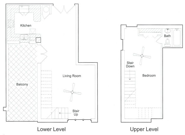 800 sq. ft. PH floor plan