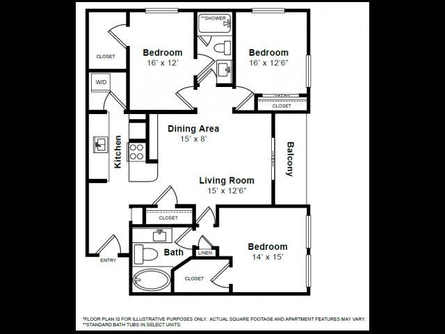 1,511 sq. ft. C3 floor plan