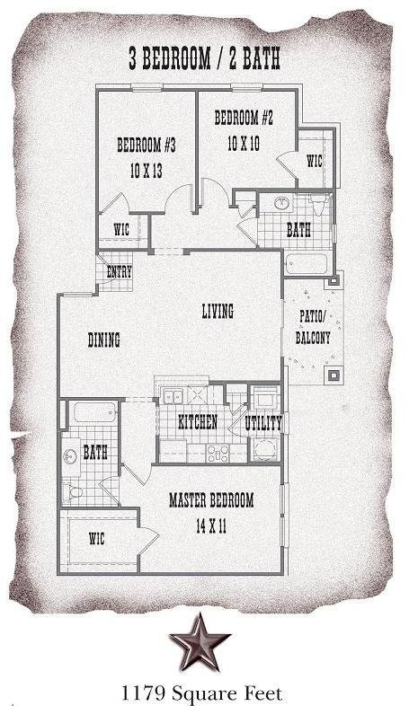 1,179 sq. ft. C1/C2 floor plan