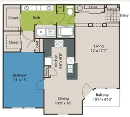 932 sq. ft. A6 floor plan