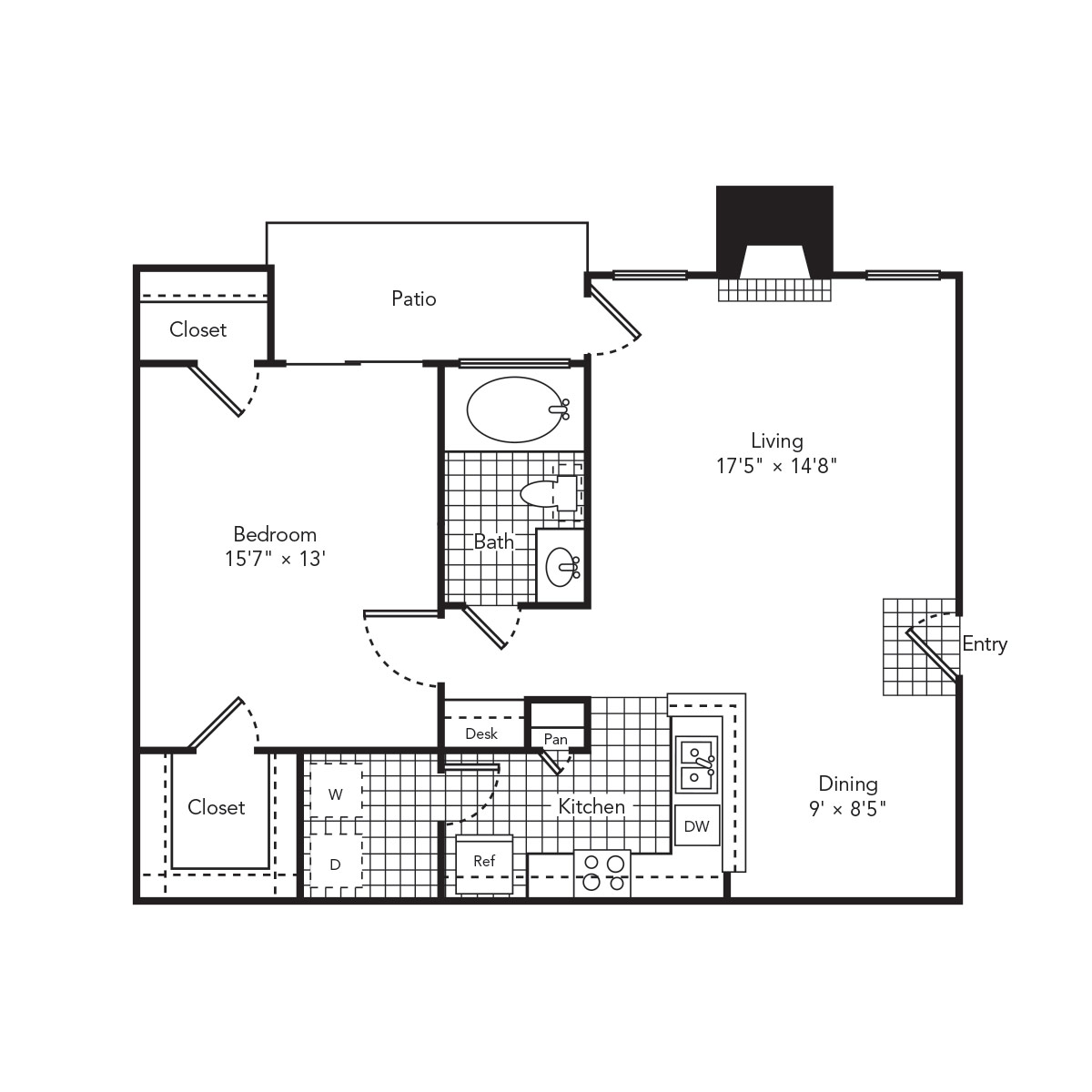 856 sq. ft. Serene floor plan