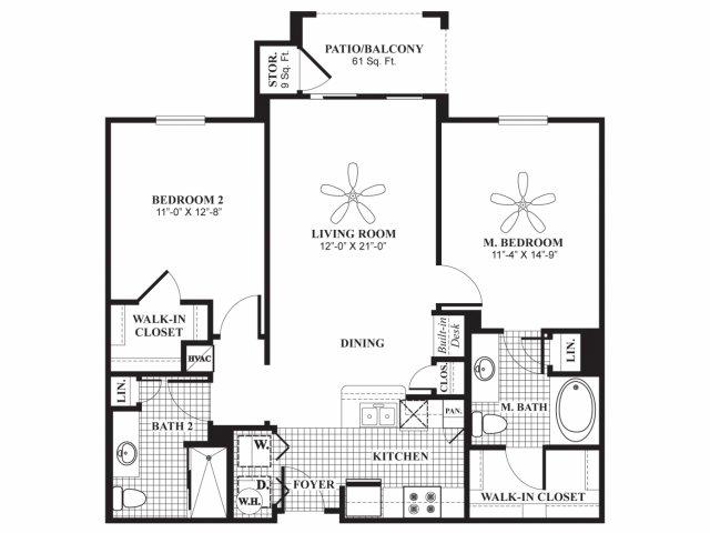 1,055 sq. ft. B1 floor plan