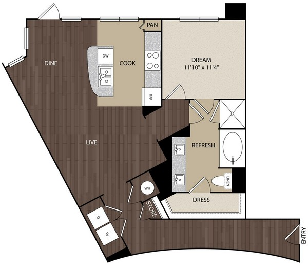 974 sq. ft. A11 floor plan