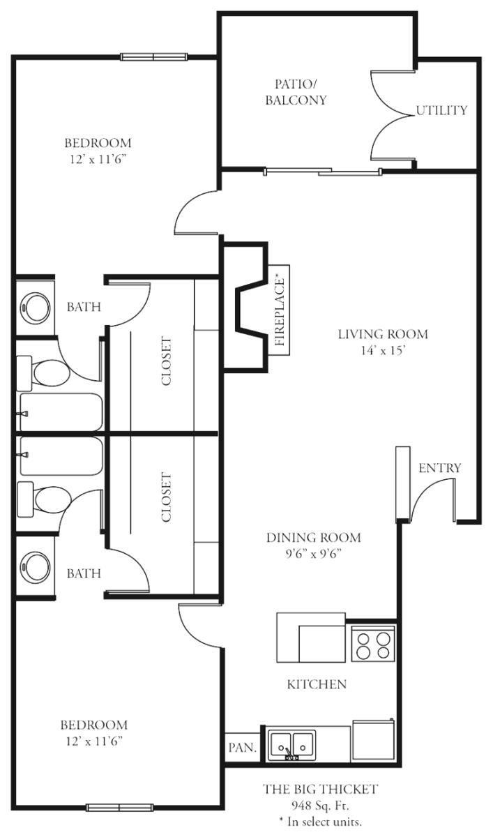 948 sq. ft. B2 floor plan