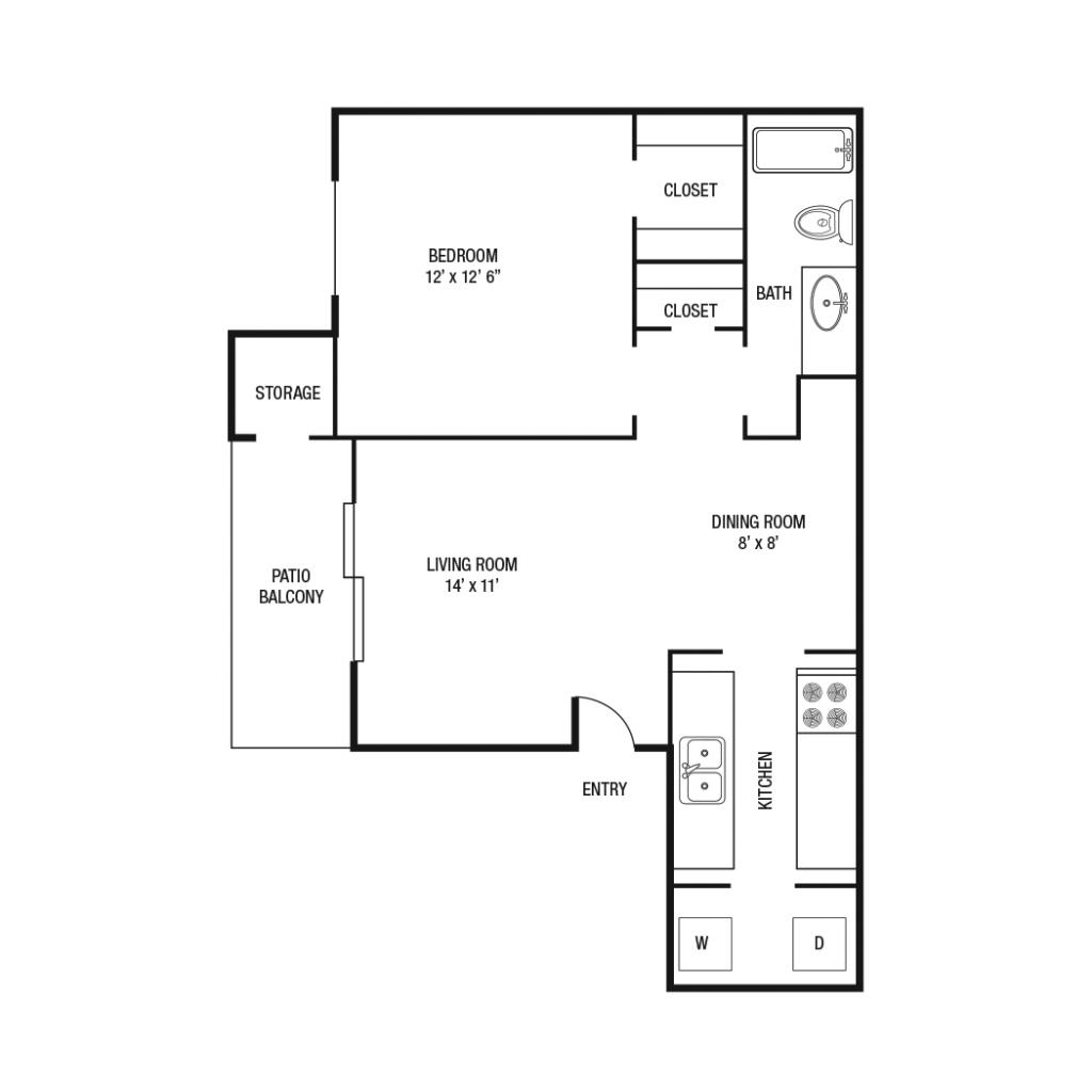 626 sq. ft. A1 floor plan