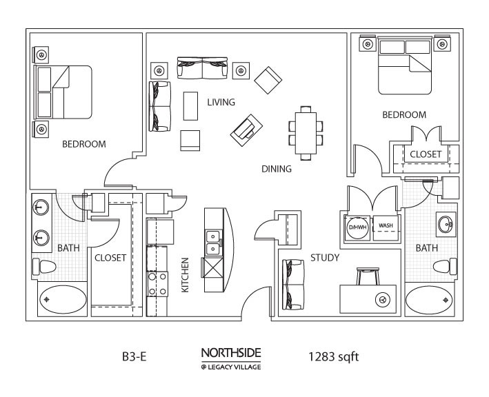 1,283 sq. ft. B3e-1 floor plan