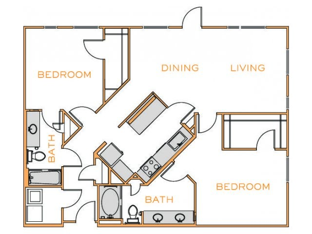 1,268 sq. ft. F2 floor plan