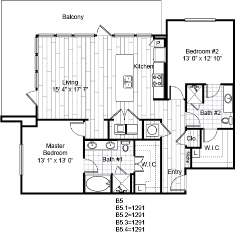 1,291 sq. ft. B5 floor plan