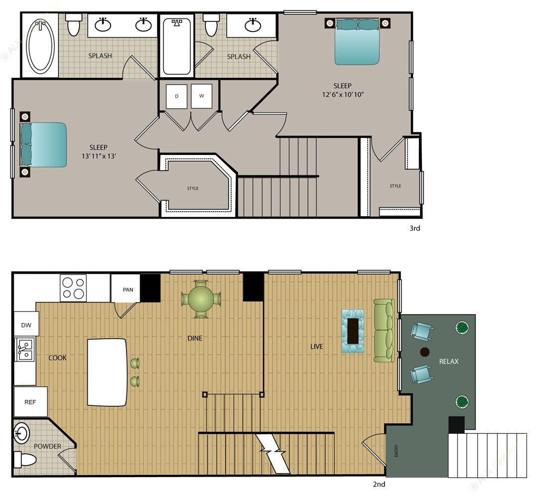 1,366 sq. ft. TH-B3 floor plan