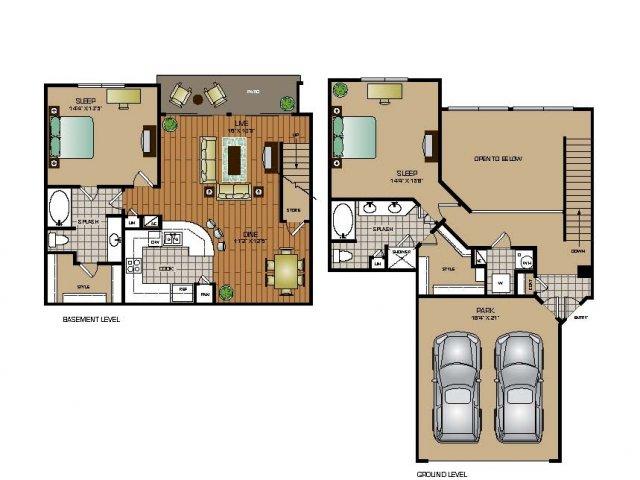 1,553 sq. ft. TH4 floor plan