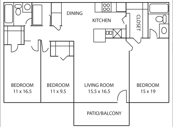 1,176 sq. ft. Tulip floor plan