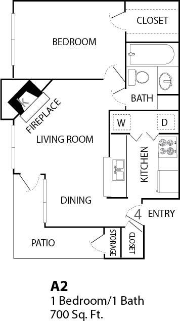 700 sq. ft. 1C floor plan