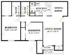 980 sq. ft. C floor plan