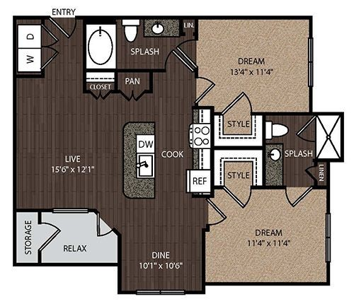 1,041 sq. ft. C1 floor plan