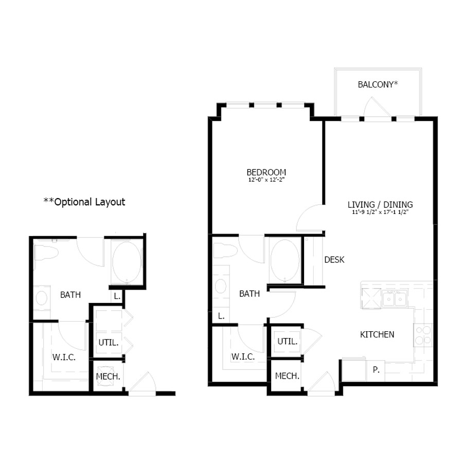 733 sq. ft. A5 floor plan