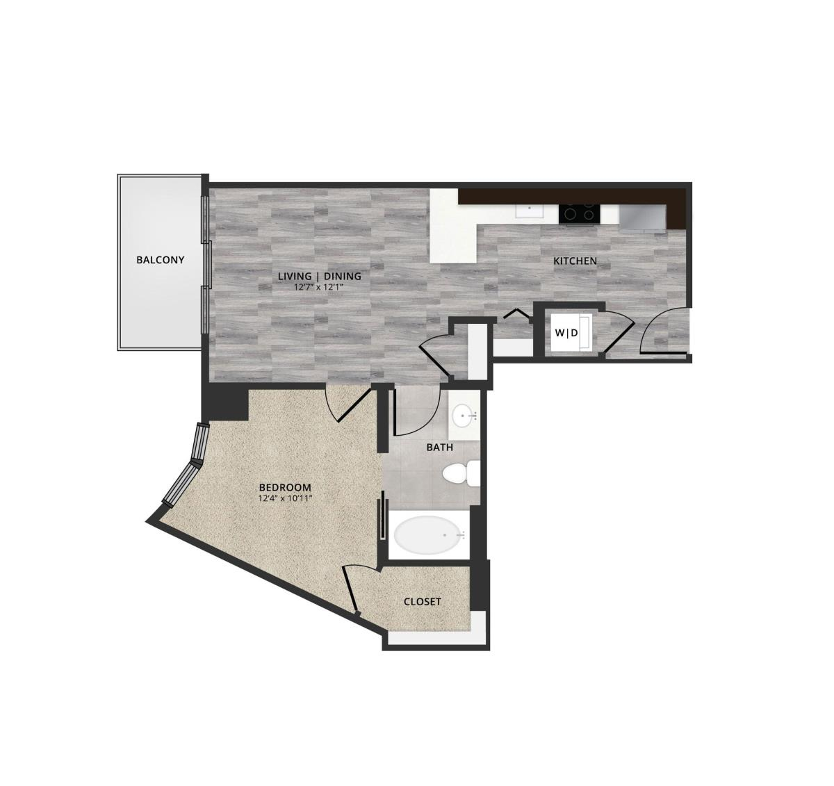 616 sq. ft. A4 floor plan