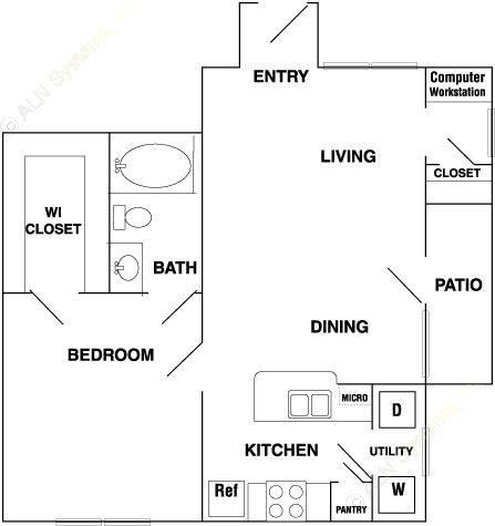 735 sq. ft. A3 floor plan