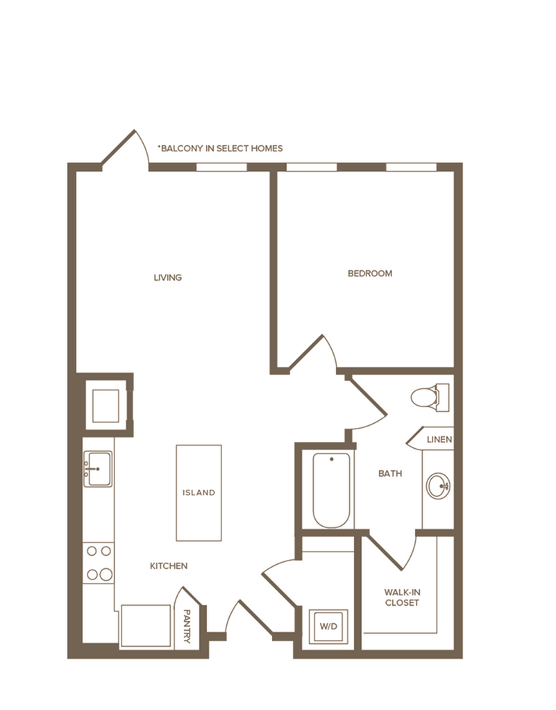 765 sq. ft. A5 floor plan