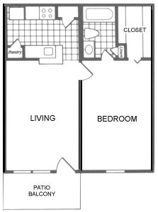 615 sq. ft. Dallas floor plan