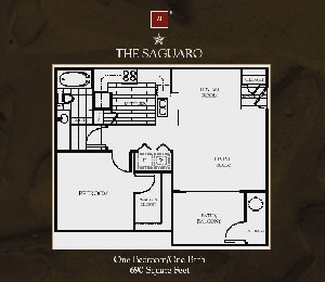 690 sq. ft. Saguaro floor plan