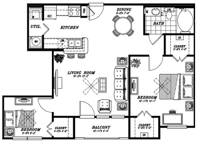 865 sq. ft. A3B floor plan