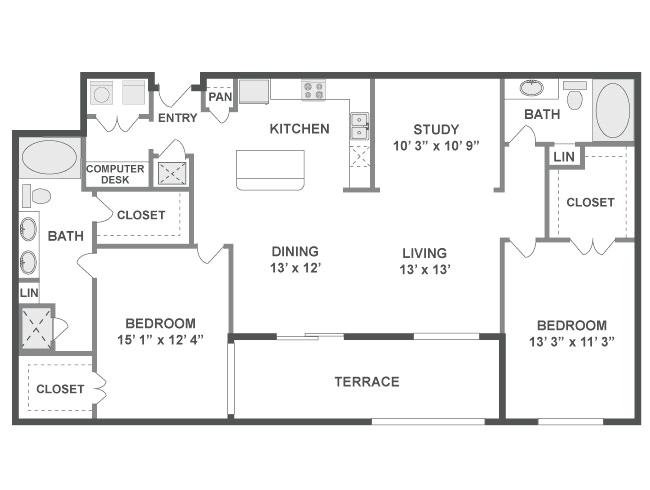 1,454 sq. ft. Flow floor plan