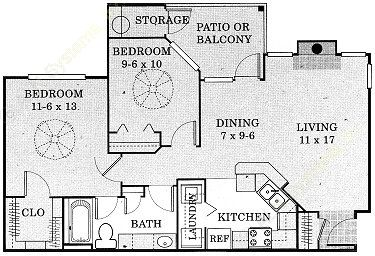 850 sq. ft. Pedernales - B1 floor plan