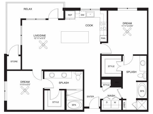 1,251 sq. ft. Ross floor plan