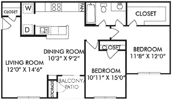 937 sq. ft. C floor plan