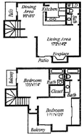1,172 sq. ft. D floor plan