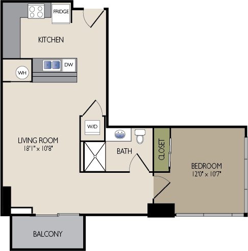 742 sq. ft. B2 floor plan
