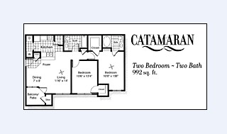 992 sq. ft. B1 floor plan