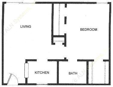 490 sq. ft. A1 floor plan