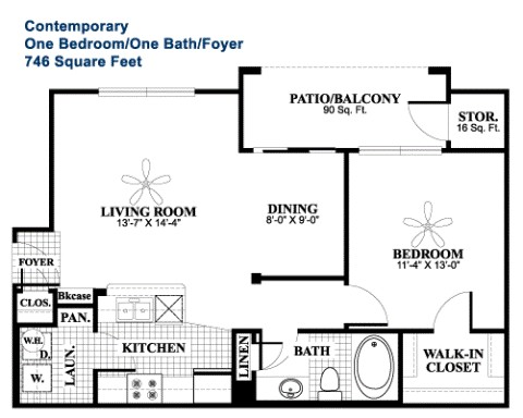 746 sq. ft. Contemporary floor plan