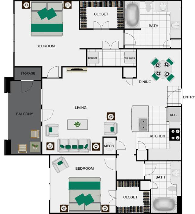 1,201 sq. ft. B4A floor plan