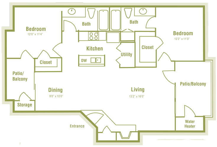 1,105 sq. ft. F floor plan