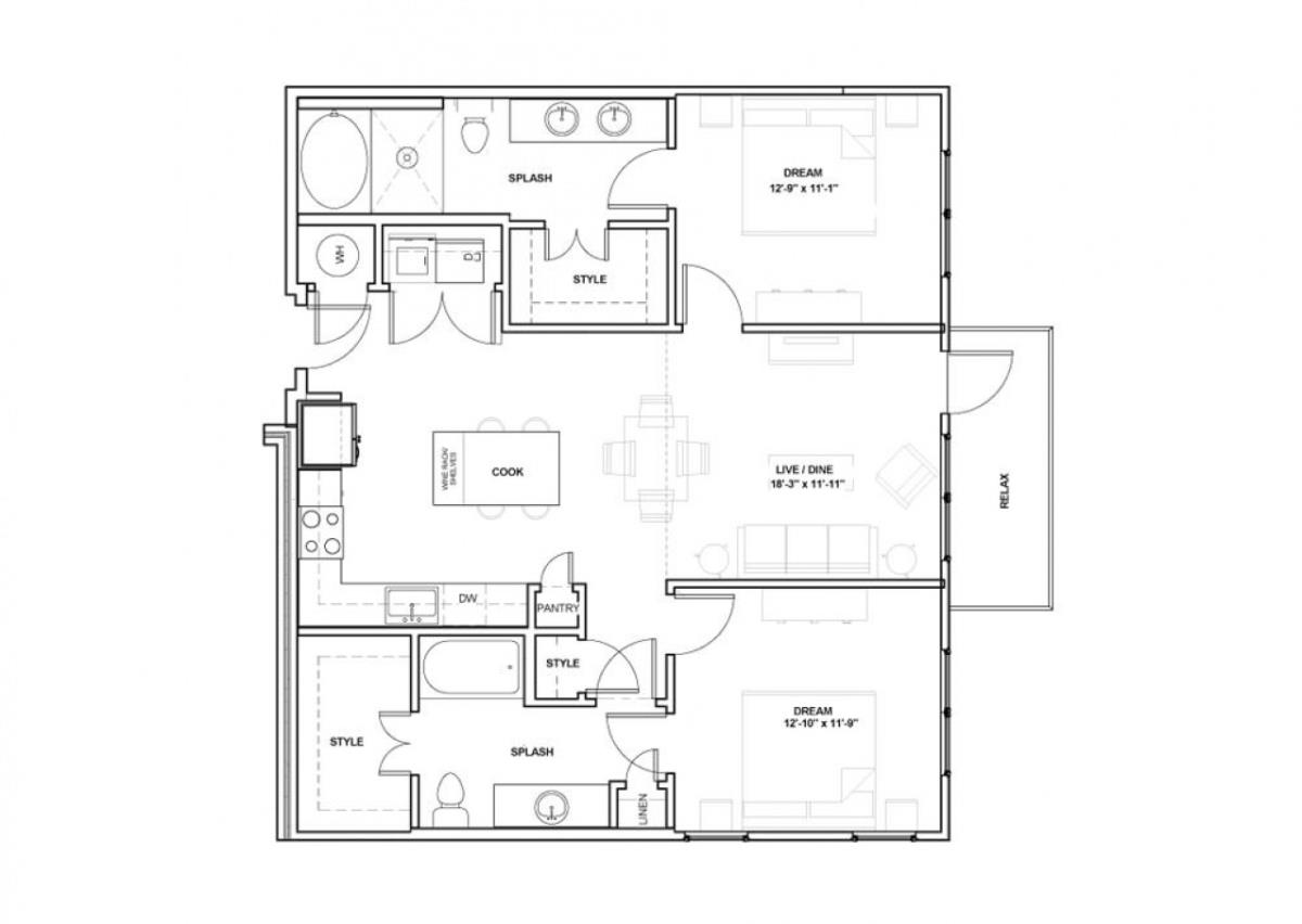 858 sq. ft. Reverchon floor plan