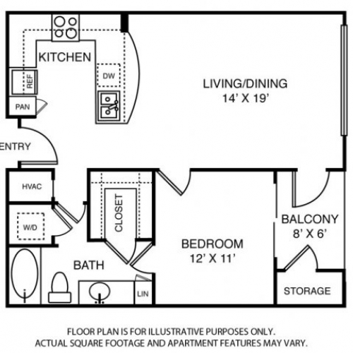 779 sq. ft. A11 floor plan