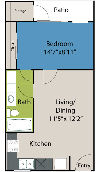 524 sq. ft. A2 Lake floor plan