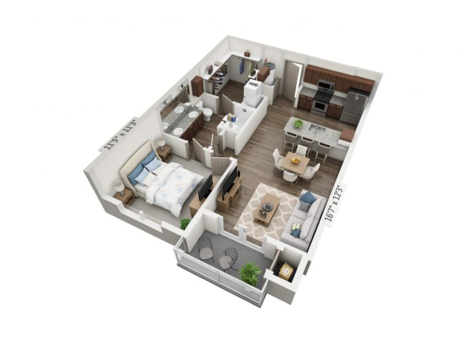 717 sq. ft. to 729 sq. ft. A1 floor plan