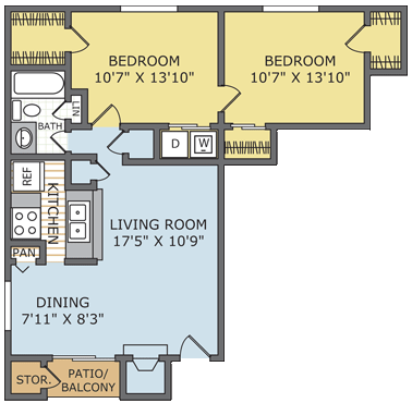 890 sq. ft. Tuscany floor plan