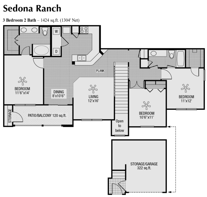 1,304 sq. ft. to 1,424 sq. ft. floor plan