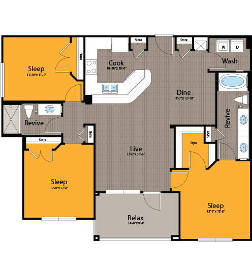 1,315 sq. ft. C1 floor plan