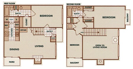 1,224 sq. ft. C1-TH floor plan