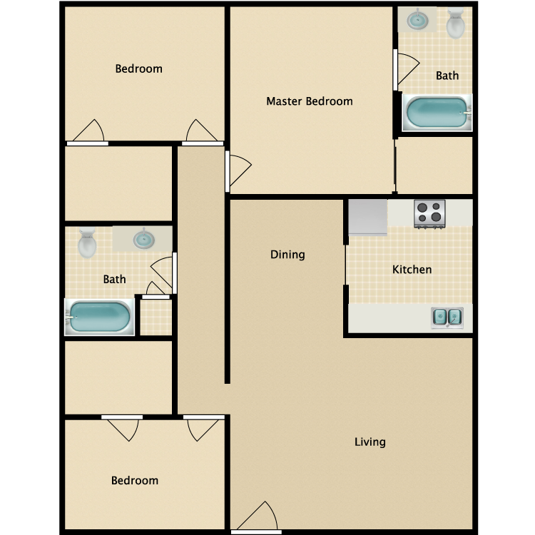 1,125 sq. ft. C1 floor plan